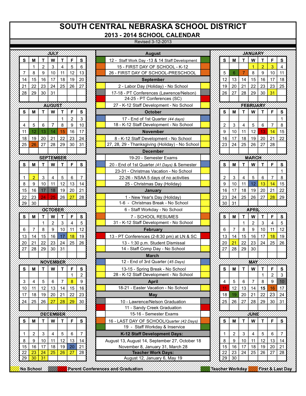 South Central USD 5 - 2013-2014 School Calendar Approved at March ...