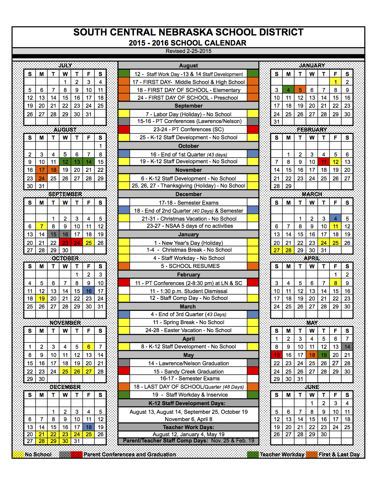 South Central USD 5 - 2015-2016 School Calendar Approved