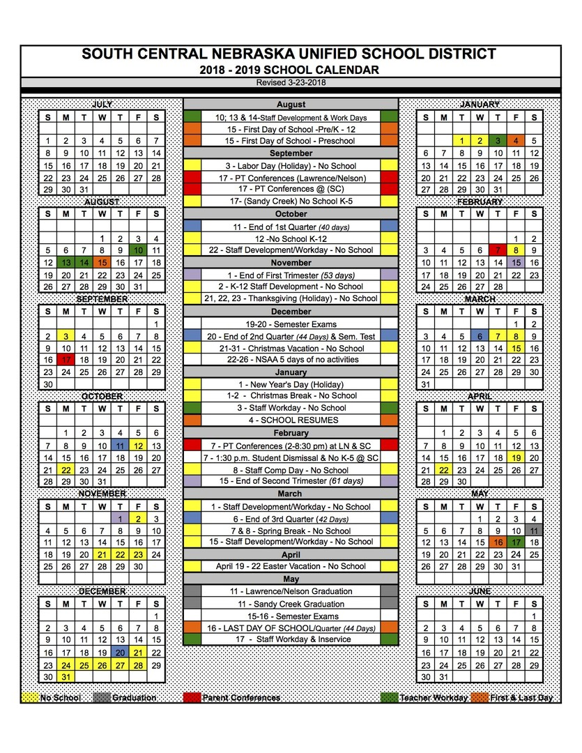 South Central USD 5 - 2018-2019 School Calendar Recently Approved